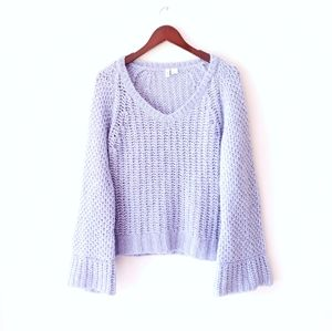 ANTHRO Moth bell flare sleeve vneck chunky knit